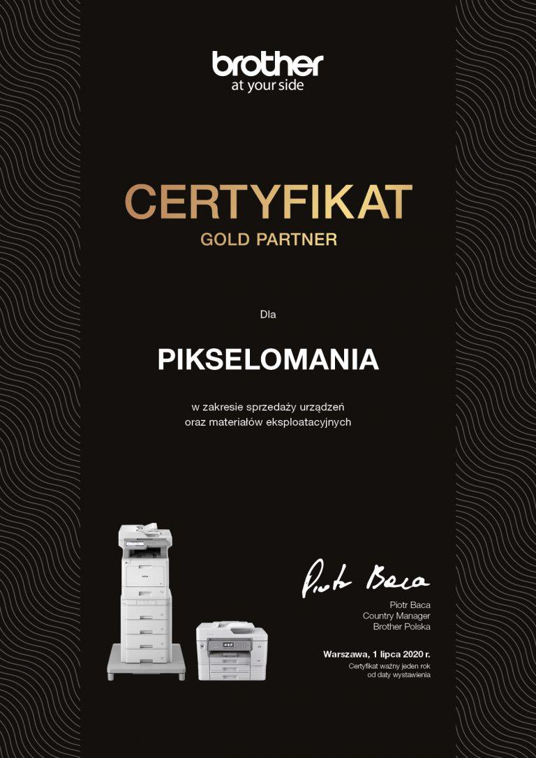 Pikselomania w Mszanie (woj. śląskie) uzyskała Certyfikat Gold Partner Brother Polska